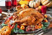 stock photo of turkey dinner  - Thanksgiving dinner - JPG