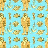 picture of creatures  - Sketch vintage diving suit and sea creatures vector seamless pattern - JPG
