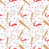 picture of ball cap  - Vector seamless baseball pattern design with bat - JPG