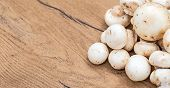 stock photo of champignons  - Champignons mushrooms on wooden tabletop - JPG