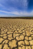 stock photo of drought  - Dry cracked earth under the blue sky - JPG