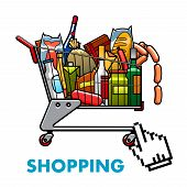 stock photo of grocery cart  - Online shopping concept with a full shopping cart of assorted groceries and drinks with web hand icon below for ordering or purchasing - JPG