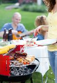 stock photo of frazzled  - Vertical view of barbecue party in garden - JPG