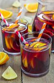 picture of sangria  - Red wine sangria with oranges and lemons - JPG