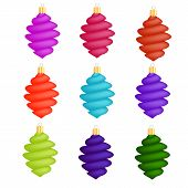 picture of icicle  - Colorful Glass Christmas Icicles Decorations Collection Isolated on White Background - JPG