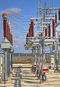 picture of substation  - High voltage switch-yard in modern electrical substation
