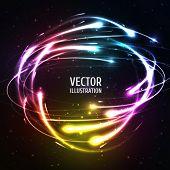 image of meteors  - Shining Neon Lights Like Meteors in Sphere - JPG