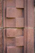 image of burlington  - red stone geometric pattern on entering historic Billings Library - JPG