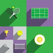 picture of trophy  - Tennis Icon Set in Flat Style with Rackets - JPG