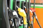 picture of gasoline station  - Fuel dispenser or Fuel nozzle in the Petrol station - JPG