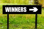 picture of directional  - WINNERS written on directional black metal sign with arrow pointing to the right against natural green  background - JPG