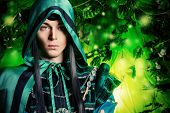 stock photo of fairies  - Noble fairy elf in the magic forest - JPG