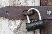 image of hasp  - Photo of the padlock and old metal hasp closeup - JPG