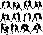 picture of knockout  - Set of different boxing silhouettes - JPG