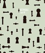 foto of keyhole  - Vintage seamless background with silhouettes of keyhole - JPG