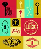 image of key  - Retro icons set of keys  - JPG