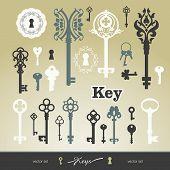 stock photo of keyhole  - Set of icons keyholes  - JPG