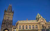 image of municipal  - Municipal house and Powder Tower in Prague - JPG