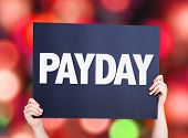 foto of paycheck  - Payday card with bokeh background - JPG