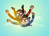 stock photo of special occasion  - Happy Father and son enjoying skydiving in the sky on occasion of Father - JPG