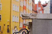 picture of gutter  - Decorative gutters on terrace in Mariacka street in Gdansk Poland - JPG