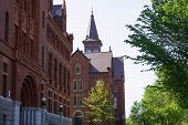stock photo of burlington  - View of Williams Hall and Old Mill historic buildings on campus of University of Vermont - JPG