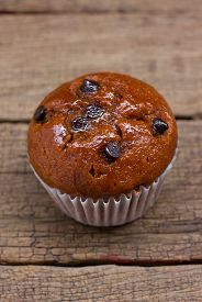 picture of chocolate muffin  - Homemade Chocolate chip muffin - JPG