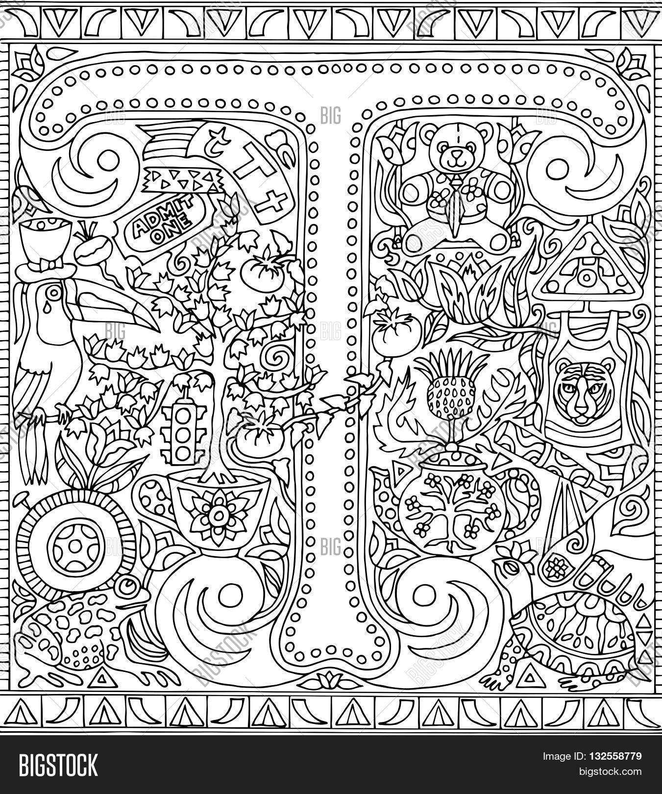 The coloring book poster - Adult Coloring Book Poster Alphabet Letter T Black And White Vector Illustration