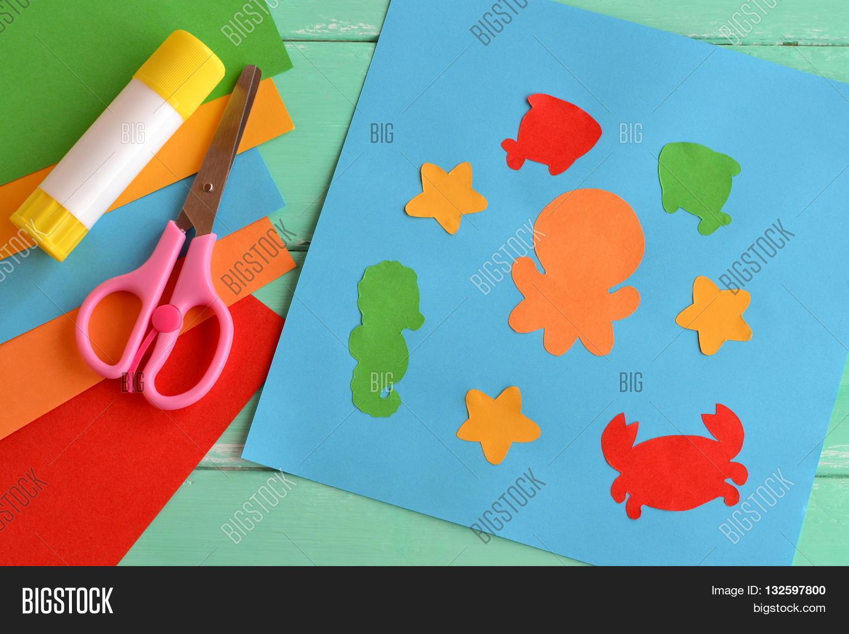 paper ocean creatures simple fun image u0026 photo bigstock