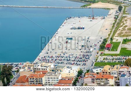 Aerial view of comercial and tranportation dock at Nafplio city Argolis Greece