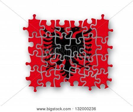 Albania Flag Jigsaw