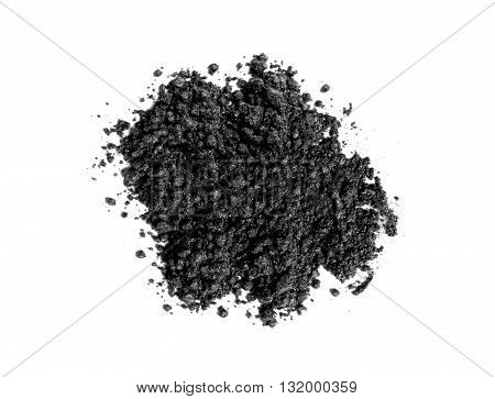 Black powder toner isolated on white background