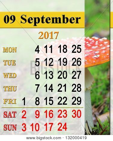calendar for September 2017 with red toadstool in the forest