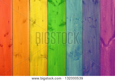 Background from multicolored boards in colors of rainbow