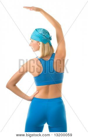 Young woman doing fitness exercise isolated on white background