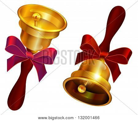 Golden bell with red bow. Holiday Last call at school. Isolated on white vector illustration