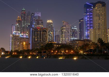sight of district Marina in Dubai at night