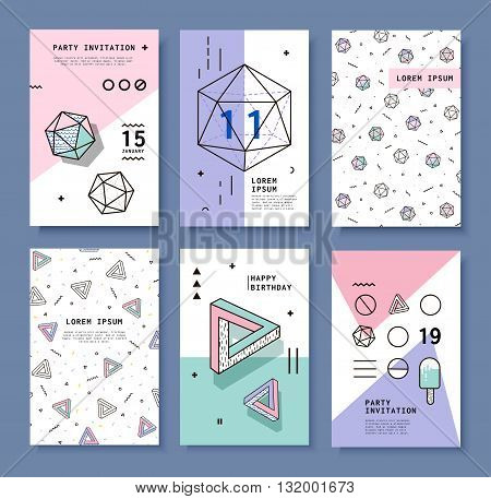 A Set of Cards with Geometric Elements Memphis. Bright Composition Hipster Party Festival Birthday Card. Complex Shapes Diamond.