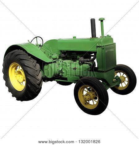 Green old farm tractor for your design