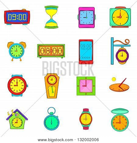 Time and Clock icons set in pop-art style isolated on white background