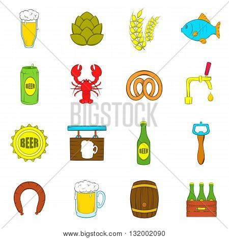 Beer icons set in pop-art style isolated on white background