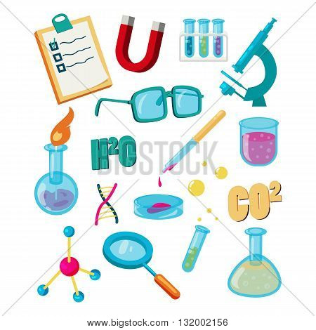 Science icons set cartoon style isolated on white background