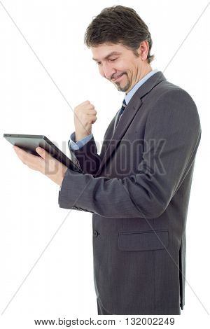 businessman winning using touch pad of tablet pc, isolated