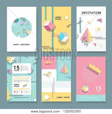 Set Memphis cards for congratulations. Hipster poster juicy bright color background. Invitation to a party.