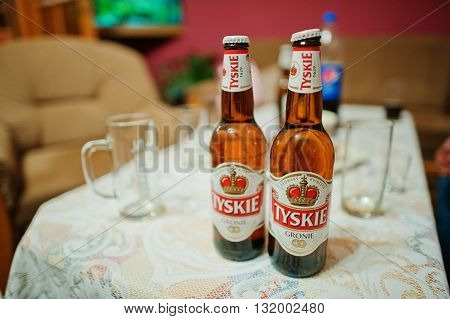 Katowice, Poland - October 24, 2014: Tyskie Beer, Is One Of The Best Selling Brands Of Beer In Polan