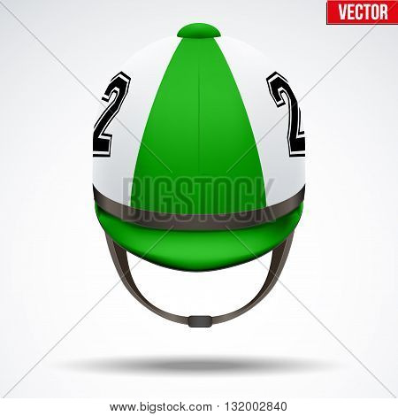 Classic Green Jockey helmet with number for horseriding athlete. Front view of Sport equipment. Vector Illustration isolated on a white background.