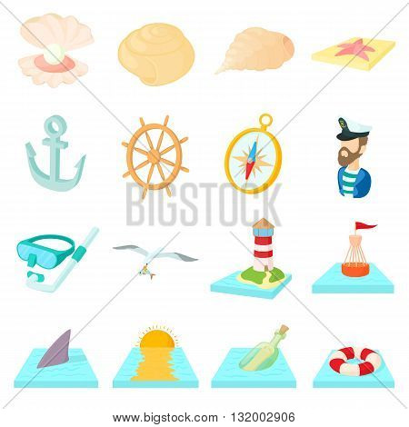 Sea Icons set in cartoon style isolated on white background