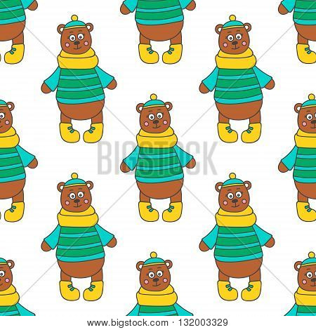 Winter bear. Pattern with hand drawn doodle bear in winter clothes. Cute bear for kids design. Vector. Isolated.