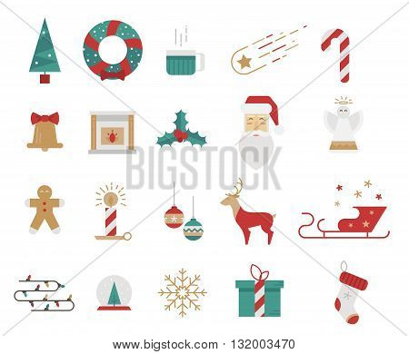 Icons style flat. Christmas elements mistletoe tree Santa Claus. Bright icons for prints posters and websites