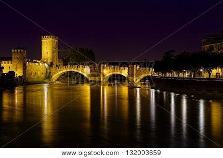 Verona, Italy - May 01, 2015: bridge of castelvecchio Verona Italy